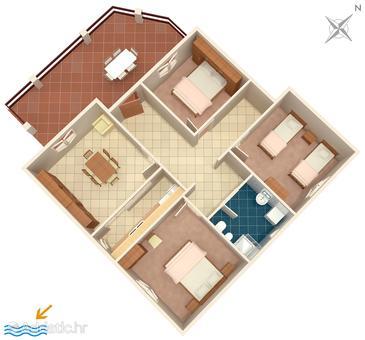 Prižba, Nacrt u smještaju tipa apartment, kućni ljubimci dozvoljeni i WiFi.