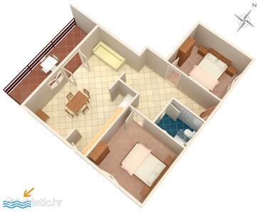 Prižba, Půdorys v ubytování typu apartment, domácí mazlíčci povoleni a WiFi.