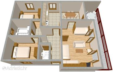 Žaborić, Plan kwatery w zakwaterowaniu typu apartment, WiFi.