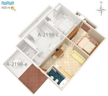 Mali Lošinj, Půdorys v ubytování typu apartment, domácí mazlíčci povoleni a WiFi.