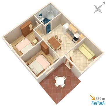 Pag, Plan kwatery w zakwaterowaniu typu apartment, dopusteni kucni ljubimci i WIFI.