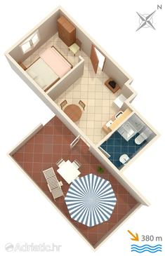 Pag, Plan in the studio-apartment, dopusteni kucni ljubimci i WIFI.