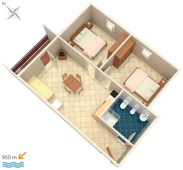 Valbandon, Půdorys v ubytování typu apartment, domácí mazlíčci povoleni a WiFi.