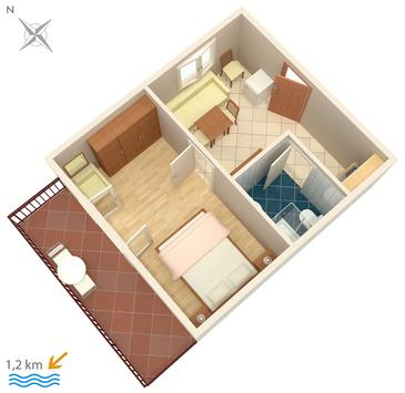 Poreč, Plan kwatery w zakwaterowaniu typu apartment, WIFI.