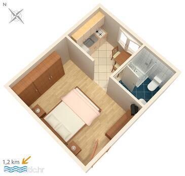 Poreč, Plan in the studio-apartment, WIFI.