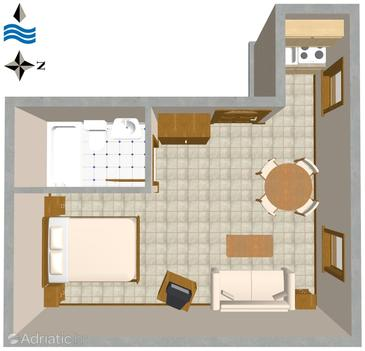 Rovinj, Plan in the studio-apartment, dopusteni kucni ljubimci.