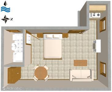 Rovinj, Plan in the studio-apartment, dopusteni kucni ljubimci.