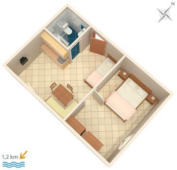 Rovinj, Půdorys v ubytování typu apartment, domácí mazlíčci povoleni a WiFi.