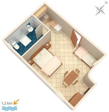 Rovinj, Půdorys v ubytování typu studio-apartment, dopusteni kucni ljubimci i WIFI.