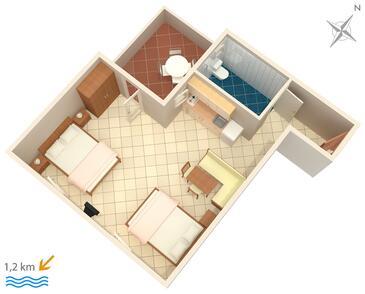 Rovinj, Půdorys v ubytování typu studio-apartment, domácí mazlíčci povoleni a WiFi.