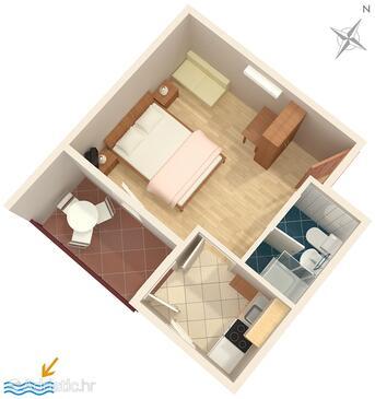 Premantura, Půdorys v ubytování typu apartment, domácí mazlíčci povoleni a WiFi.