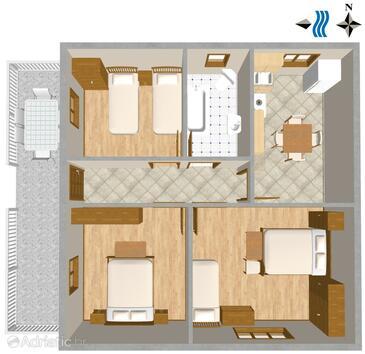 Banjole, Půdorys v ubytování typu apartment, WIFI.
