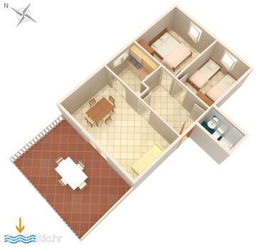 Povljana, План в размещении типа apartment, Домашние животные допускаются и WiFi.