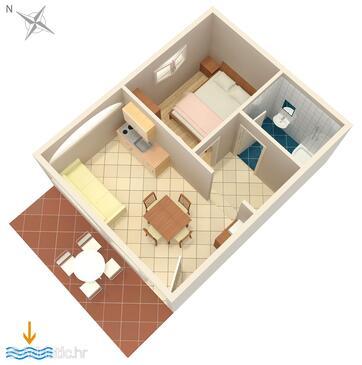 Povljana, Plan in the apartment, dopusteni kucni ljubimci i WIFI.