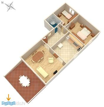 Povljana, Plan in the apartment, (pet friendly) and WiFi.