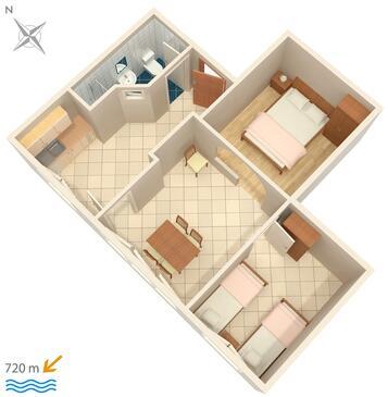 Rovinj, Půdorys v ubytování typu apartment, WiFi.