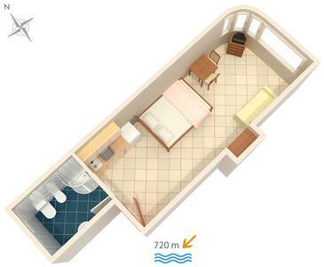 Rovinj, Půdorys v ubytování typu studio-apartment, WiFi.