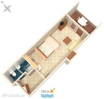 Rovinj, Plan in the studio-apartment, WiFi.