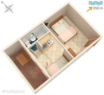 Premantura, Plan in the studio-apartment, dopusteni kucni ljubimci i WIFI.