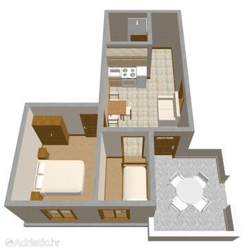 Povljana, Plan in the apartment, WiFi.
