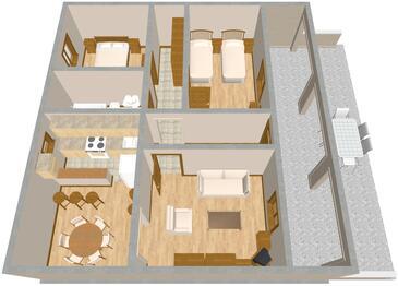 Pula, Půdorys v ubytování typu apartment, domácí mazlíčci povoleni a WiFi.