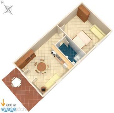 Rovinj, Plan in the apartment.