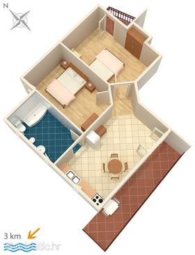 Rovinj, Plan in the apartment, dopusteni kucni ljubimci i WIFI.