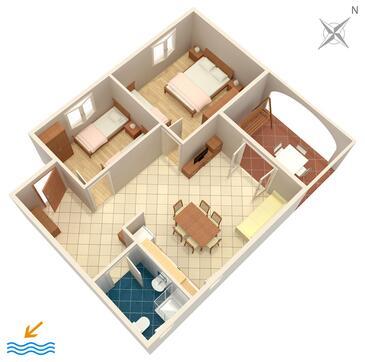 Medulin, Pôdorys v ubytovacej jednotke apartment, WiFi.
