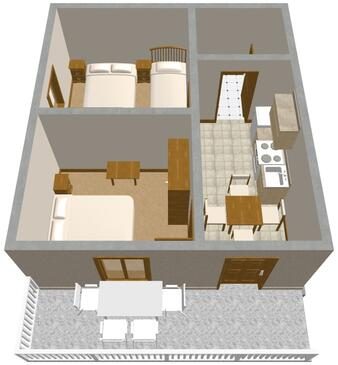 Povljana, План в размещении типа apartment.