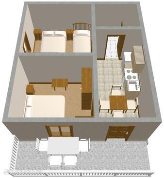 Povljana, Plan in the apartment.