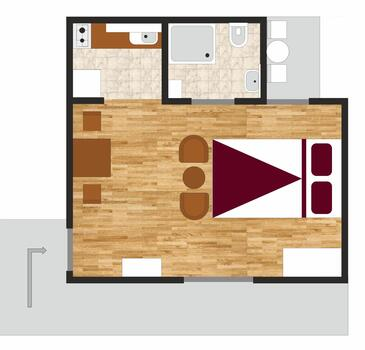 Poreč, Grundriss in folgender Unterkunftsart studio-apartment, WiFi.
