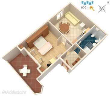 Fažana, Grundriss in folgender Unterkunftsart apartment, Haustiere erlaubt und WiFi.
