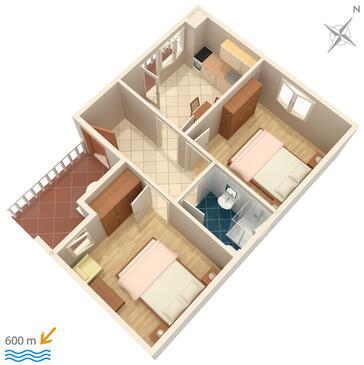 Povljana, Půdorys v ubytování typu apartment.