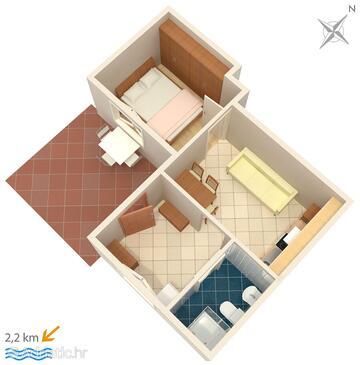Ičići, Schema nell'alloggi del tipo apartment, animali domestici ammessi e WiFi.
