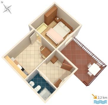 Ičići, Plan kwatery w zakwaterowaniu typu apartment, zwierzęta domowe są dozwolone i WiFi.