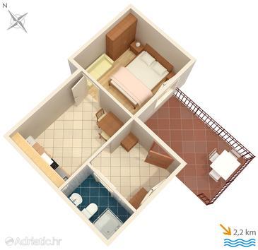 Ičići, Půdorys v ubytování typu apartment, domácí mazlíčci povoleni a WiFi.