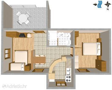 Oprič, Půdorys v ubytování typu apartment, domácí mazlíčci povoleni a WiFi.