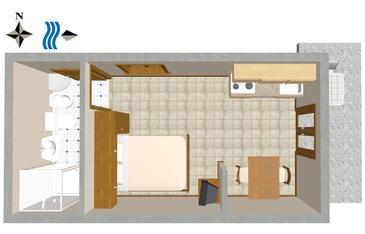Oprič, Plan kwatery w zakwaterowaniu typu studio-apartment, zwierzęta domowe są dozwolone i WiFi.