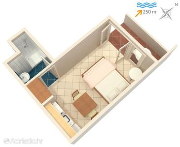Rabac, План в размещении типа studio-apartment, WIFI.