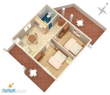 Povljana, Načrt v nastanitvi vrste apartment, Hišni ljubljenčki dovoljeni.