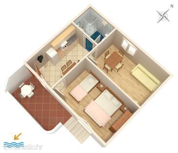 Povljana, План в размещении типа apartment, Домашние животные допускаются.