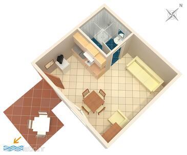 Povljana, Půdorys v ubytování typu studio-apartment, domácí mazlíčci povoleni.