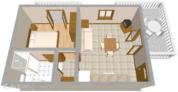 Duga Luka (Prtlog), Plan in the apartment.
