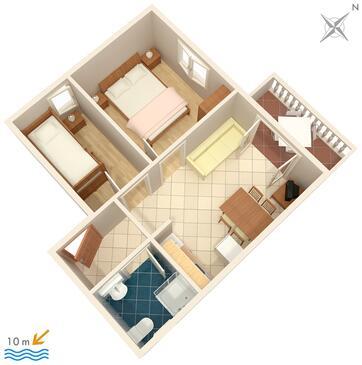 Stara Novalja, Pôdorys v ubytovacej jednotke apartment, dopusteni kucni ljubimci i WIFI.