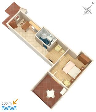 Rabac, Půdorys v ubytování typu apartment, WiFi.
