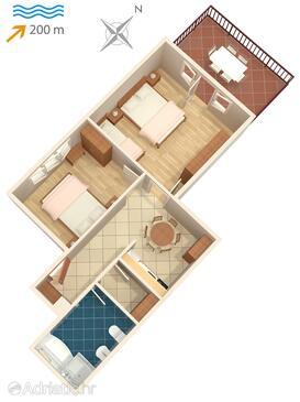 Lovran, Půdorys v ubytování typu apartment, WiFi.