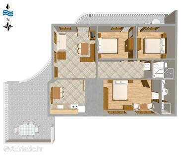 Novi Vinodolski, Půdorys v ubytování typu apartment, domácí mazlíčci povoleni a WiFi.