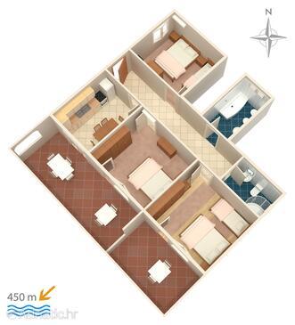 Novi Vinodolski, Půdorys v ubytování typu apartment, WiFi.