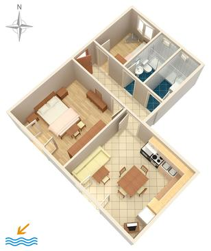 Novi Vinodolski, Plan kwatery w zakwaterowaniu typu apartment, WiFi.