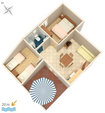 Crikvenica, Načrt v nastanitvi vrste apartment, WiFi.